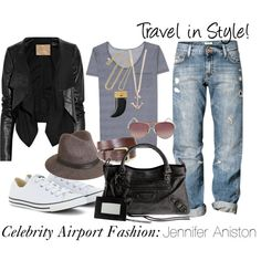 Celebrity Airport Fashion by travelfashiongirl on Polyvore featuring Closed, Converse, Balenciaga, Kenneth Jay Lane, Minor Obsessions, rag & bone, Michael Kors, Max Azria, H&M and travel outfits