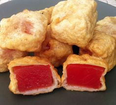 """Deep Fried Watermelon - healthy, refreshing, and bad for you all at the same time! Click the link named """"Nick"""" to see the whole world deep fried. Watermelon Recipes, Fruit Recipes, Cooking Recipes, Watermelon Healthy, Recipies, Waffle Recipes, Grilling Recipes, Deep Fried Desserts, Fancy Desserts"""