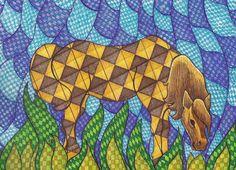 Checkered Horse a l Suzanne Berton
