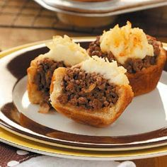 Mini Shepherd's Pies ~ If I'm not rushed for time, I'll sometimes make these with homemade biscuits and mashed potatoes.