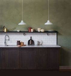Discover more of the best Interior, Design, Jotun, Lady, and Minerals inspiration on Designspiration Ikea Kitchen Design, Kitchen Interior, Kitchen Decor, Kitchen Walls, Green Kitchen, New Kitchen, Crisp Kitchen, Interior Wall Colors, Interior Design