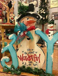Cute wood JOY sign with snowman. Big wood craft