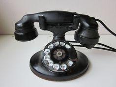 Antique Telephone by on Etsy Phone Companies, Vintage Telephone, Old Phone, Mid Century Decor, Tin Toys, Landline Phone, Candlesticks, Heavy Metal, Westerns