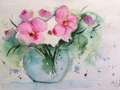 "Aquarell , "" Blumenstrauß "", Blumen , 17 x 24 cm , Unikat in Antiquitäten & Kunst, Malerei, Aquarelle | eBay!"