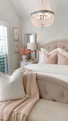 Room Design Bedroom, Room Ideas Bedroom, Home Decor Bedroom, Blush Bedroom Decor, Master Bedroom, Feminine Bedroom, Girl Bedroom Designs, Stylish Bedroom, Bedroom Decor For Couples