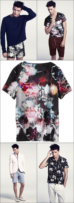 HM MENS SUMMER 2012 ABSTRACT FLORAL PRINT T SHIRT BURGUNDY BUTTON CROTCH SHORTS BLUE LONG SLEEVE TEE PRINT SHORTS FLORAL BUTTON UP SHORT SLEEVE SHIRT SHORTS SUIT BOAT SNEAKERS MEN FASHION BLOG