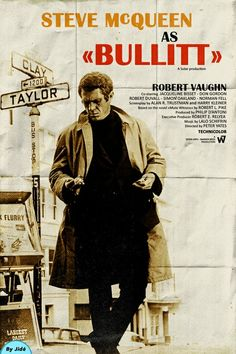"Steve McQueen in ""Bullitt"". Steve Mcqueen Movies, Actor Steve Mcqueen, Steve Mcqueen Style, Steven Mcqueen, 1960s Movies, Old Movies, Great Movies, Poster S, Movie Poster Art"