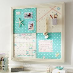 2x2 Pool Dottie Style Tile 2.0 Set from PBTeen - copycat this for a home command center in the office - maybe add a small cup on pegboard for dry erase markers?
