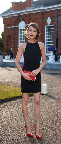 Ella Catliff makes a statement in red and black at the Ralph Lauren and Vogue Wimbledon Summer Garden Party Wimbledon, Beautiful Dresses, Nice Dresses, Suits For Women, Clothes For Women, Vogue, Dressed To Kill, Office Fashion, Special Occasion Dresses