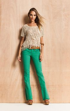 new ideas crochet top outfit jeans Look Casual Chic, Look Chic, Casual Looks, Green Pants Outfit, Outfit Jeans, Crochet Top Outfit, Look Fashion, Fashion Outfits, Cool Outfits