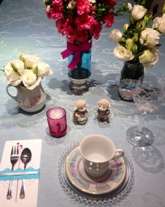 Tea Party! Blue and pink tablescape with Sylvanian Families Characters. By Cinthia Colasanti