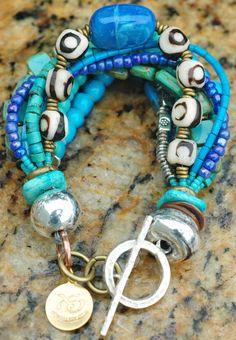 Custom Turquoise, Blue, Purple, Tribal Bone and Silver Multi-Strand Bracelet $195