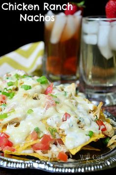 Chicken Ranch Nachos | Delicious nachos with chicken, homemade ranch and lots of cheese | from willcookforsmiles.com