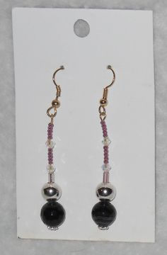 Black Prismatically cut Agate Earrings With Crystals and Pink Seed Beads #spiritlake #bubbleboyboutique
