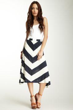 Asymmetrical Striped Midi Skirt