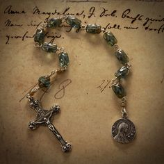 Rosary Tenner -- Sterling Silver Rosa Mystica Tenner With Aqua Czech Glass; Antique Reproduction Cherubs Crucifix and Rosa Mystica Medal