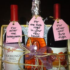 Bachelorette Gift..use Paperly wine tags as the gift tags...what a cute idea!