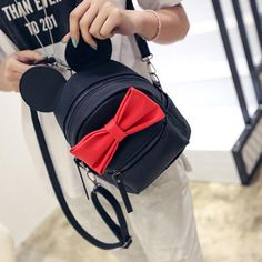 35.86$  Buy now - http://viwtl.justgood.pw/vig/item.php?t=bzl5mc7452 - PU Leather Women Korean Style Mouse Ears Bow Shoulder Bag College Girls School B