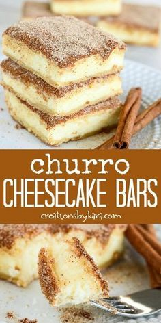 The crunchy cinnamon of churros combined with the creamy tanginess of cheesecake. - The crunchy cinnamon of churros combined with the creamy tanginess of cheesecake. The crunchy cinnamon of churros combined with the creamy tanginess. Smores Dessert, Dessert Dips, Good Desserts, Easy Recipes For Desserts, Bar Recipes, Easy Cream Cheese Desserts, Simple Dessert Recipes, Dessert Food, Snacks