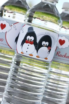 Penguin Wedding  Water Bottle Label PDF by NatalilyDesigns on Etsy, $15.00