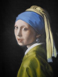 Johannes Vermeer Girl With A Pearl Earring Detail Copy Painting Dutch Golden Age Masterpiece Oil Portrait Unique Gift By Kim Stenberg