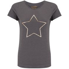 ON THE RISE Star Tee - Grey & Rose Gold ($46) ❤ liked on Polyvore featuring tops, t-shirts, slim fitted t shirts, short sleeve tops, slim fit t shirts, gray tees and rose gold top