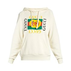 cd9a9a04397 Gucci Logo-print hooded sweatshirt (€1.750) ❤ liked on Polyvore featuring  tops