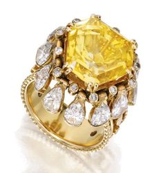 SOTHESBY'S IMPORTANT JEWELS ~ 18 KARAT GOLD, YELLOW SAPPHIRE AND DIAMOND 'PAMPILLES' RING, RENÉ BOIVIN, FRANCE