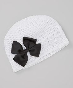 Take a look at this White Crochet Beanie & Bow Clip by Dress Up Dreams Boutique on #zulily today!