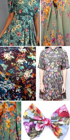 that sagey grey background floral with pop flower colors and blue leaves.