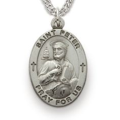St. Peter, Patron of Butchers, Sterling Silver Medal http://www.truefaithjewelry.com/sm8847sh.html