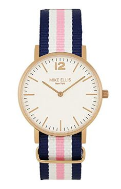 Mike Ellis New York Damen-Armbanduhr CW1 Analog Quarz Nylon SL4564B4 - http://uhr.haus/mike-ellis-new-york/mike-ellis-new-york-damen-armbanduhr-cw1-analog
