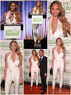 She landed the role of Color Commentator on the hit series Lip Sync Battle for her vibrant personality and variegated observations.  But unlike her colorful character, Chrissy Teigen chose a muted ensemble when she attended the 21st annual City Harvest Gala at Cipriani 42nd Street in New York City on Thursday.  The 29-year-old model-turned-TV personality donned a plunging white jumpsuit for the charity event where she was accompanied by Grammy winning singer and husband John Legend.