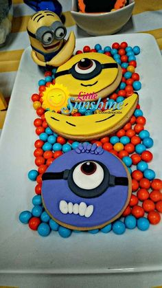 Despicable Me Minion Birthday Party cookies! See more party planning ideas at CatchMyParty.com!