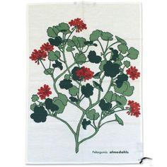 ティータオル Pelargonia レッド  DESIGN:Pelargonia  DESIGNER:Almedahls design studio