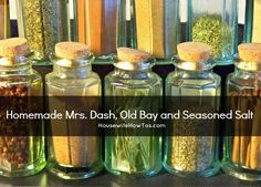 Recipes for homemade Mrs. Dash, homemade seasoning salt, and homemade Old Bay. Save money using your own spices, plus they'll cost a fraction of the price.