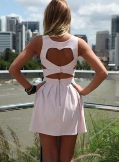 Pink Mini Dress - Light Pink Heart Cutout Dress