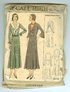 McCall 6639   ca. 1931 Ladies' & Misses' Dress