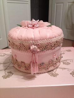 Embellished Jewelry Box, shabby chic box, lace trimmed box, keepsake box