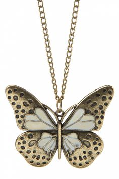 From Paris with Love! - Mon sweet papillon! Vintage Gold enamel necklace