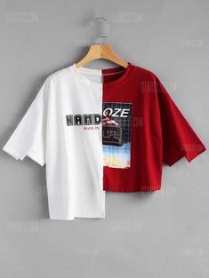 2019 red and white Letter Print Contrast Asymmetric Tee summer t shirt. Crafted from comfy fabric, this trendy tee with round collar features letter print, color block design and asymmetric hemline. Diy Fashion, Fashion Outfits, Womens Fashion, Fashion Design, Trendy Fashion, Style Fashion, Fall Fashion, Fashion Weeks, Fashion Details