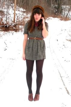 Fall/Winter Outfit: Burgundy Button Down Shirt/Top + Grey/Gray Dress + Brown Belt + Dark Brown Hue Tights + Brown Oxfords