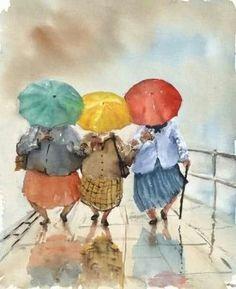 Watercolor illustration of people Art And Illustration, Watercolor Illustration, Rain Painting, Umbrella Art, Art Watercolor, Walking In The Rain, Rainy Days, Artsy, Drawings