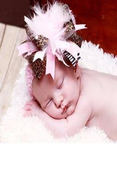 CCH108 Pink Feather Cheetha Baby Prop Headband - Backdrop Outlet