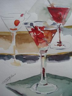 "One Too Many, watercolor by s l Strohschein..""all rights reserved."