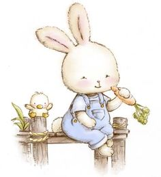 Little Bunny - Petit Collection-Love the little chick Illustration Mignonne, Cute Illustration, Bunny Art, Cute Bunny, Cute Images, Cute Pictures, Animal Drawings, Cute Drawings, Cartoon Mignon