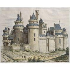 Chateau de Pierrefonds, illustration from 'Le Moniteur des architectes engraved by Bosredon
