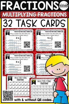 32 Multiplying Fractions Task Cards which includes using numbers lines, area models, repeated addition, mixed numbers, whole numbers, and word problems to multiply fractions! These task cards are the perfect supplement to a multiplication fraction unit and will help your students review multiplying fractions skills. Perfect for review, Scoot game, math center, assessment tool, or test prep! This product is aligned to 4.NF.4a, 4.NF.4b, 4.NF.4c