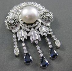 Antique large 6.20ctw diamond & sapphire & aaa pearl platinum pin/pendant #21902