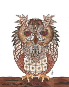 "Tangled Owl, $44, 8""x10"" using Ben Kwok's template (Ornation Creation) at www.artbyjoflockton.com"